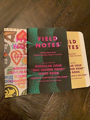 "Field Notes Irregular Issue ""DDC Deader Print"" Sold Out Notebook Pack #1246"