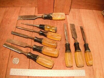 9 Bulk Lot Vintage Stanley Chisel Set Bevel Edge Australia Yellow Handle RARE