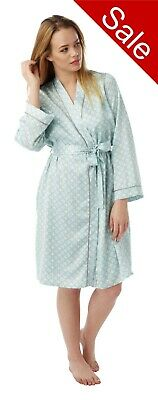 Ladies Aqua Satin Bathrobe Wrap Kimono Dressing Gown Robe Size 8 - 32 PLUS SIZE