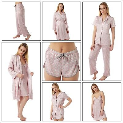 Ladies Pink Satin Chemise Nighty PJs Pyjamas Set Bathrobe Wrap sizes 8 - 32