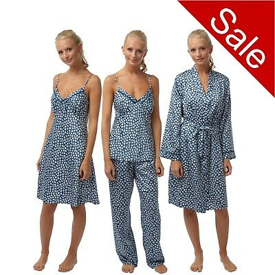 Ladies Blue Soft Satin Chemise Nightie String Strap PJs Pyjamas Set Bathrobe
