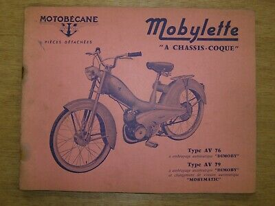 Motobécane Mobylette AV76 AV79 catalogue pièces Mobymatic Dimoby chassis-coque