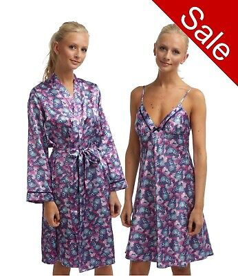 Ladies Purple Butterfly Satin Silky Soft Chemise Nightshirt Nightdress Bathrobe