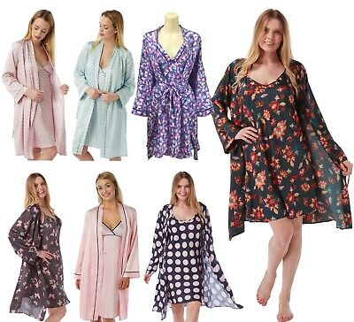 Ladies Satin Matching Chemise Nightie and Bathrobe Wrap Kimono Set
