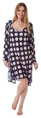 Ladies Navy Spot Satin Matching Chemise Nightie and Bathrobe Wrap Kimono Set