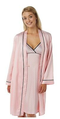 Ladies Pink Stripe Satin Matching Chemise Nightie and Bathrobe Wrap Kimono Set