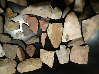 *** 50 PC Lot Flint Arrowhead Collection tip off Spear hoes scrapers ***