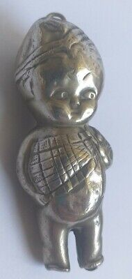 Vintage scottish kewpie doll silver plated rattle teether Baby antique toy scott