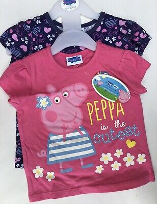 Baby Girls 2 pack Short Sleeve T Shirts with Peppa Pig detail