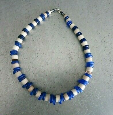Vintage Kette Afrika_Perlen Glas Blau / Weiss_Trade Beads_Ethno Necklace_