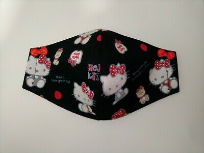Hello Kitty Face Mask Adult Size with 3-Layers Filter Pocket Option Great Day Bl