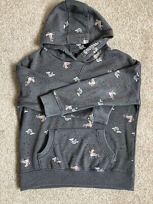 Girls Next Grey Rainbow & Unicorn Hoodie With Front Pocket Age 9
