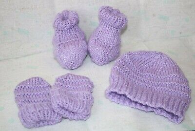 Hand Knitted 0-3 months baby  sets incl hat, mittens and booties wisteria