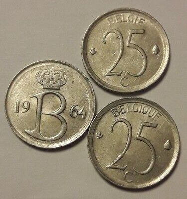 25 centimes Belgique 25 cents 1964 <<<===>>>1975 Choose Belgïe Belgium Baudouin