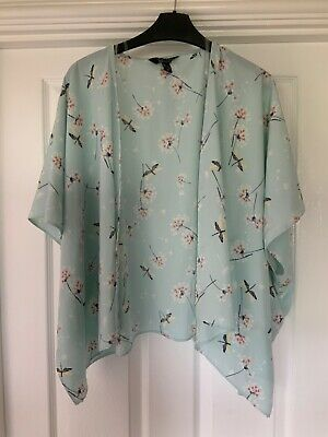New Look generation 915 aqua green blue dragon fly kimono jacket top size Medium
