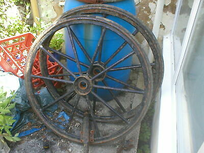 Two Antique Cart / Pony Trap Wheel Metal Rims Solid Rubber Tyres + Springs +