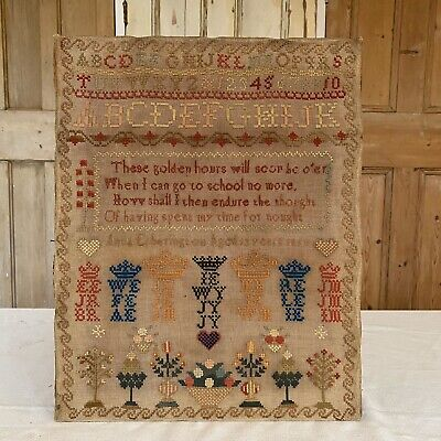 Charming Mid Victorian Antique Sampler Dated 1850 Embroidered Verse & Pictures