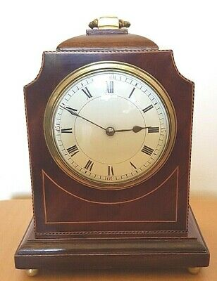 Quality French 8 Day Mantel Clock Solid Mahogany Wood   ref 601