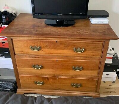 Antique Vintage Edwardian Wooden Chest Of Drawers