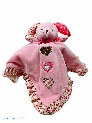 Carters Bunny Rabbit Lovey Pink Heart Flower Plush Rattle Security Baby Blanket
