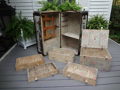 1800s ANTIQUE INDESTRUCTO BRIDES WARDROBE CASE STEAMER SHIP TRAVEL LUGGAGE TRUNK