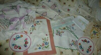 Vintage hand embroidered linen items job lot