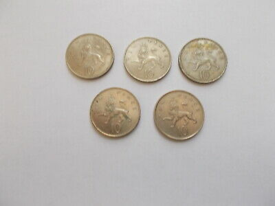 5-Old 10 Pence Coins Good Grades Various Dates