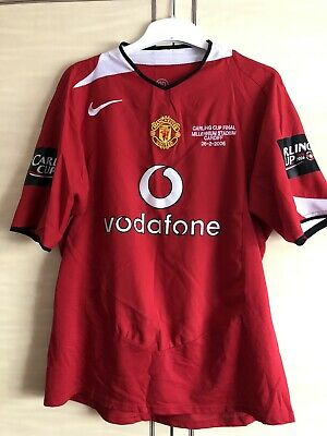 Manchester United 2004-06 Home Shirt Carling Cup Final Nike Size - Large