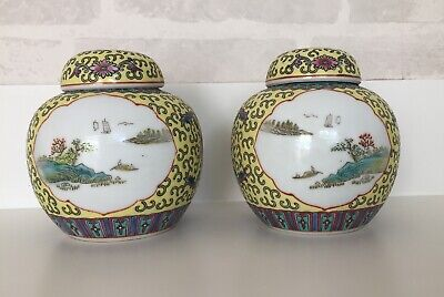 Pair Of Chinese Ginger Jars With Lids