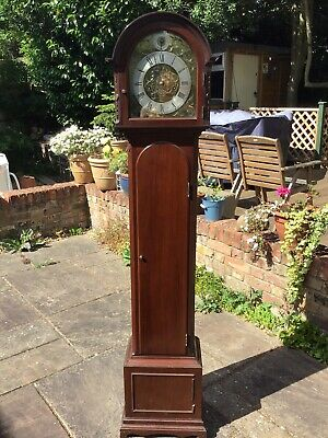 GRANDMOTHER Clock Chiming Weight Driven Mahogany Look Merryweather & Son