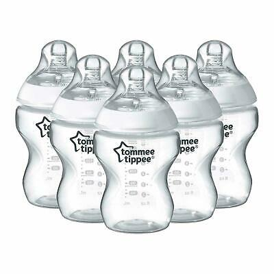 Tommee Tippee Closer to Nature 260ml/9oz Bottles X6 With Slow Flow Teat - NEW