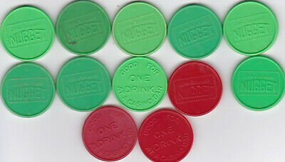 12 John Ascuaga's Nugget Sparks, Nv Drink Tokens-3 Red, 9 Green