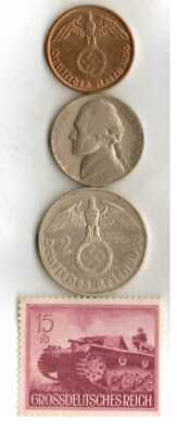 #-9-)-*rare WWII-*German Stamp+ *US and  *German  SILVER  and  COPPER  coins