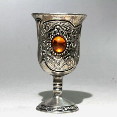 Collectable China Old Miao Silver Agate Hand-Carved Beautiful Unique Wine Glass
