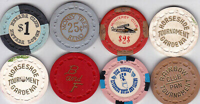 Eight Small Crown Mold Casino Chips-Various Locations And Denominations