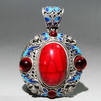 Collectable China Miao Silver Agate Cloisonne Carve Noble Beautiful Chic Pendant
