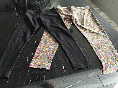 2 PAIRS OF NEXT GIRLS LEGGINGS -  Black And Floral - Age 7 And 9 Yrs - See Pics