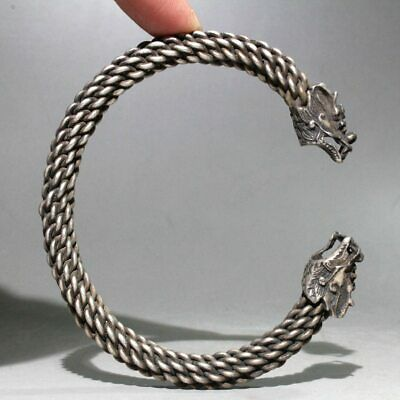 Collectable China Old Miao Silver Hand-Carved Dragon Head Unique Lucky Bracelet
