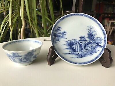 Chinese Qing Blue and White Nanking Cargo Cup and Saucer
