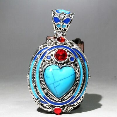 Collectable China Miao Silver Cloisonne Turquoise Carve Beautiful Noble Pendant