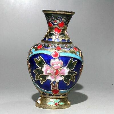 Collectable China Old Cloisonne Carve Flower Noble Beautiful Delicate Rare Vase