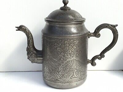 Excellent Chinese Pewter Tea/Coffee Pot, Huikee Swatow