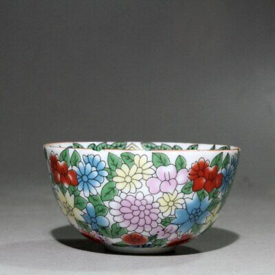 Collectable Chinese Old Porcelain Hand-painting Ancient  Beauty Flower Tea Bowl