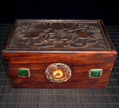 Collectable China Old Boxwood Jade Agate Hand-Carved Beautiful Unique Jewel Case