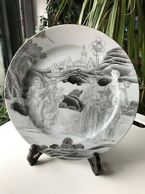 Chinese Qing Grisaille Figural Plate