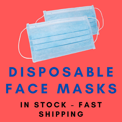 100 Medical Surgical Dental Disposable Face Masks IN STOCK 10% to Charity