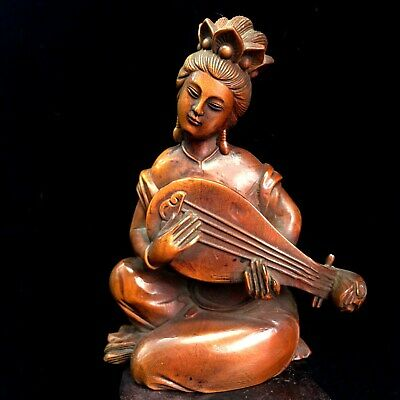 Collectable Old Boxwood Hand-Carved Beautiful Woman Playing The Pipa Rare Statue