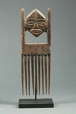 African Art, wood comb with Double Face and custom stand, worn, Congo?