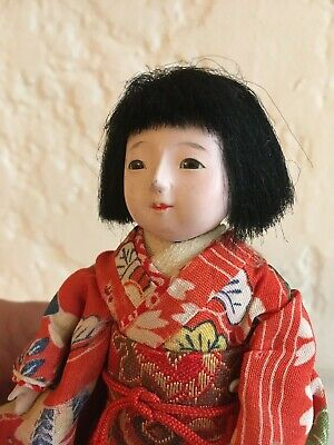 Antique Gofun Japanese Ichimatsu Doll 5 1/2 inches Vintage with Stand SWEET!