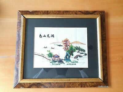 Vintage Chinese Chinoiserie Silk Embroidery Wall Hanging Picture and Framed